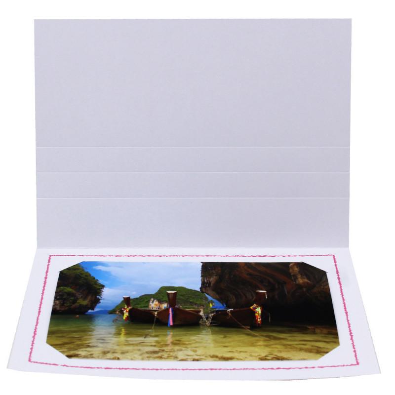 Cartonnage photo Thionville 10x15-9x13 blanc-horizontal-liseré rose