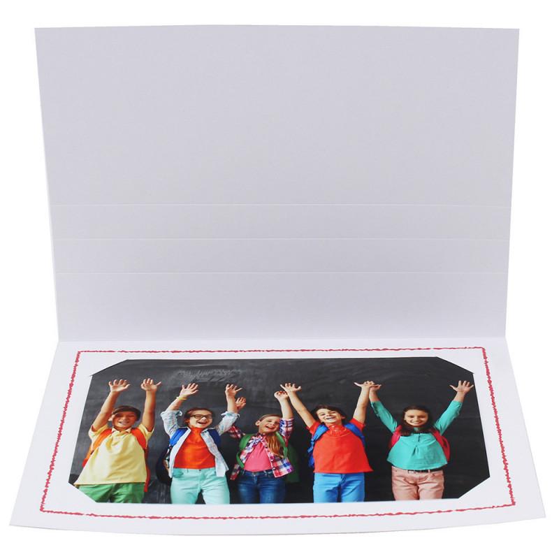 Cartonnage photo Thionville 10x15-9x13 blanc-horizontal-liseré rouge