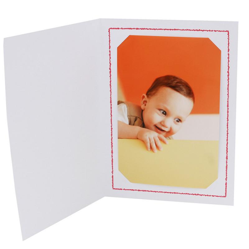 Cartonnage photo Thionville 10x15-9x13 blanc-vertical-liseré rouge
