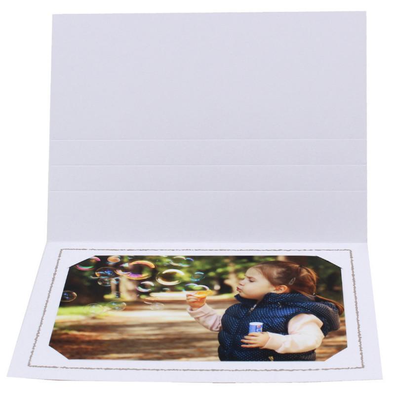 Cartonnage photo Thionville 10x15-9x13 blanc-horizontal-liseré taupe