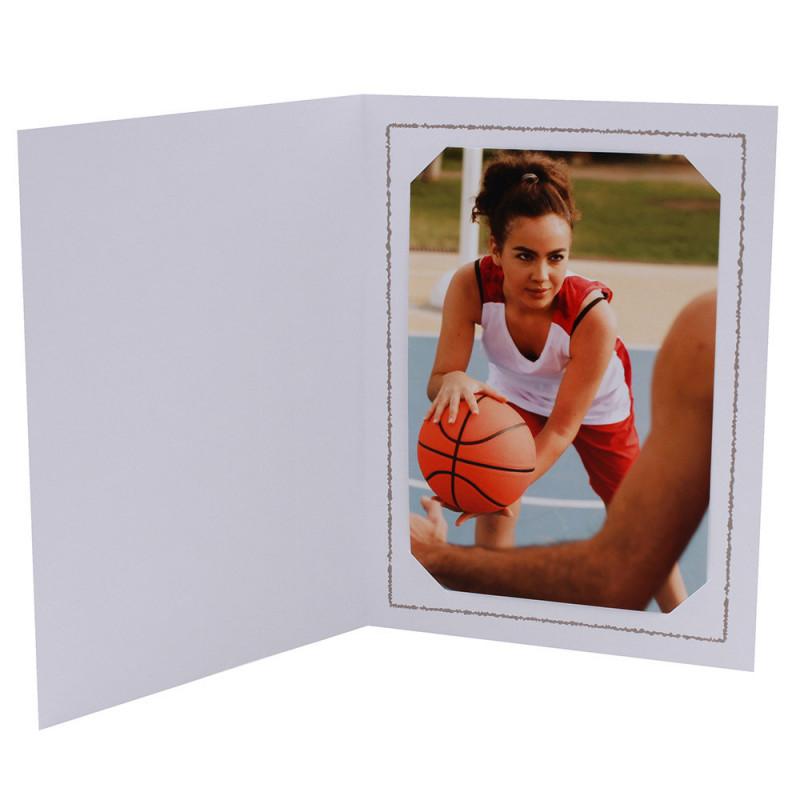 Cartonnage photo Thionville 10x15-9x13 blanc-vertical-liseré taupe