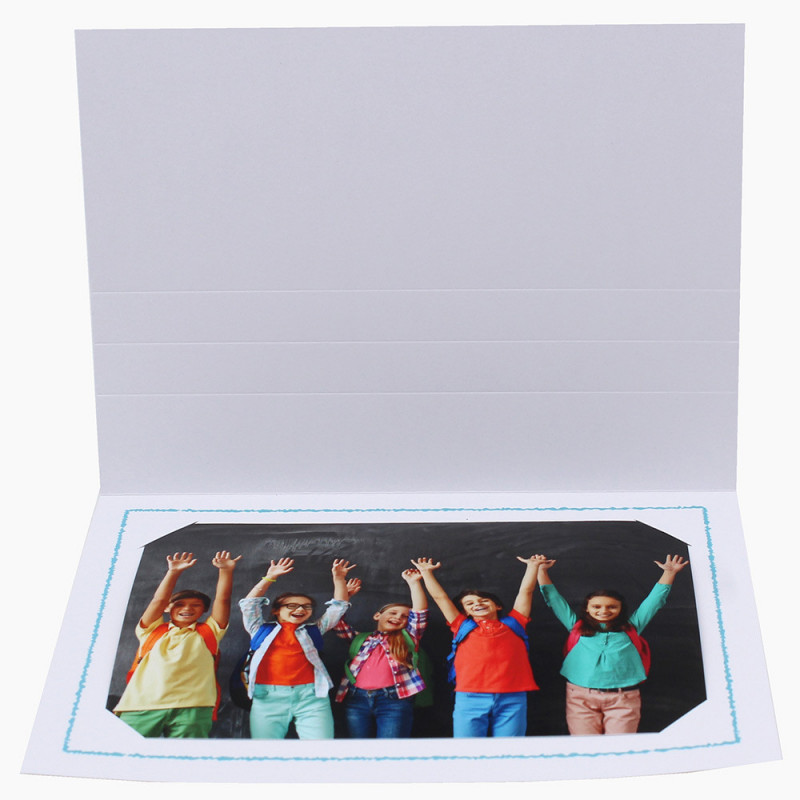 Cartonnage photo Thionville 10x15-9x13 blanc-horizontal-liseré turquoise