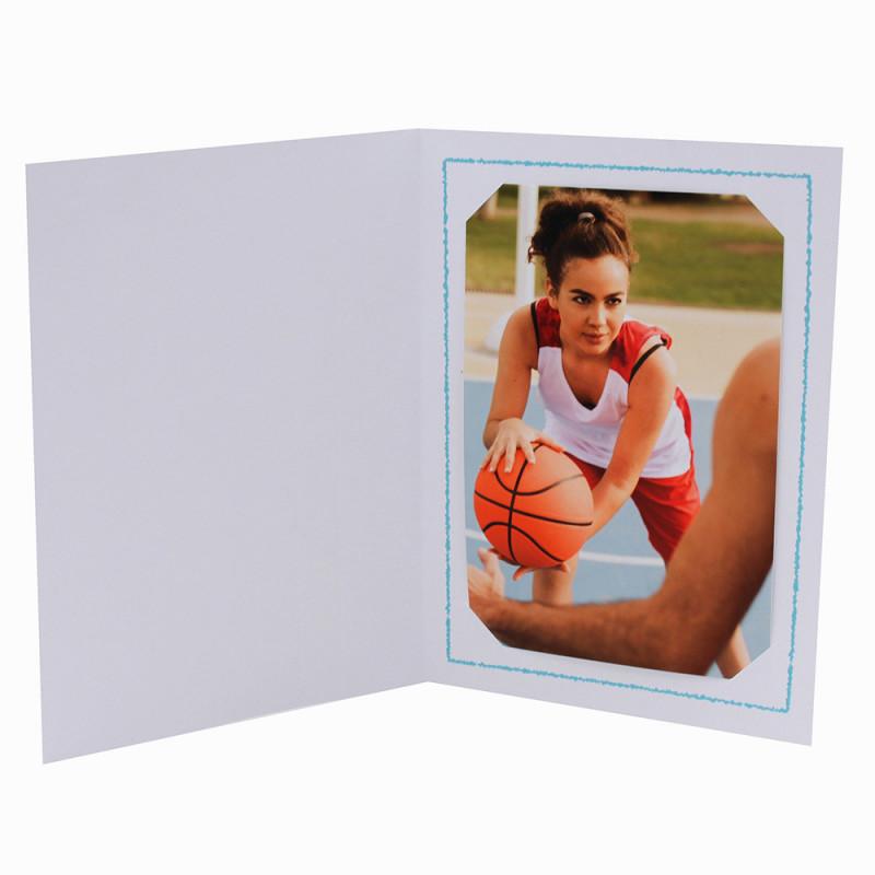 Cartonnage photo Thionville 10x15-9x13 blanc-vertical-liseré turquoise