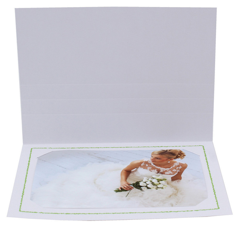 Cartonnage photo Thionville 10x15-9x13 blanc-horizontal-liseré vert clair