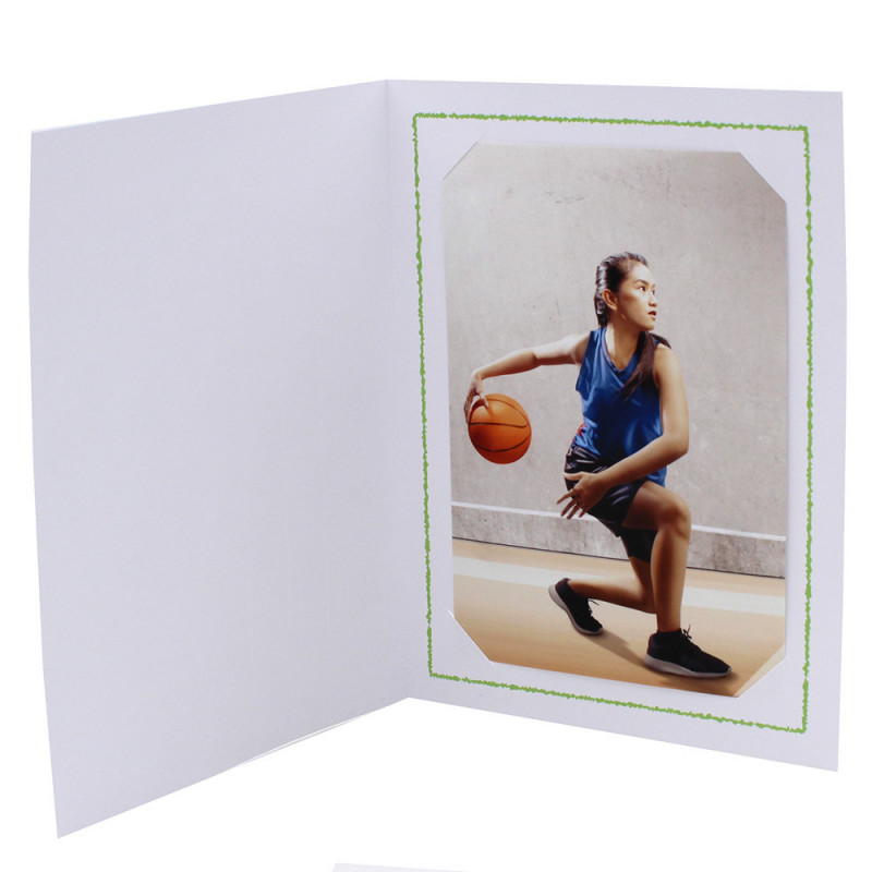 Cartonnage photo Thionville 10x15-9x13 blanc-vertical-liseré vert clair