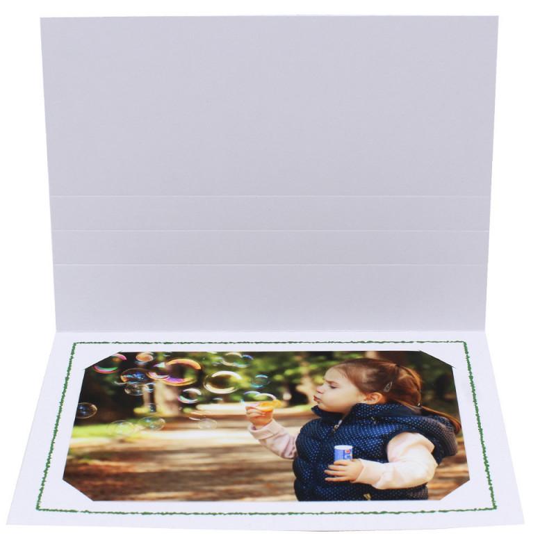 Cartonnage photo Thionville 10x15-9x13 blanc-horizontal-liseré vert foncé