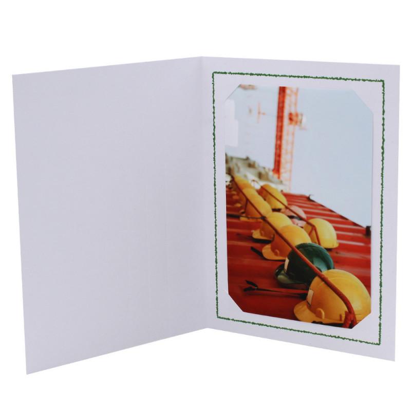 Cartonnage photo Thionville 10x15-9x13 blanc-vertical-liseré vert foncé