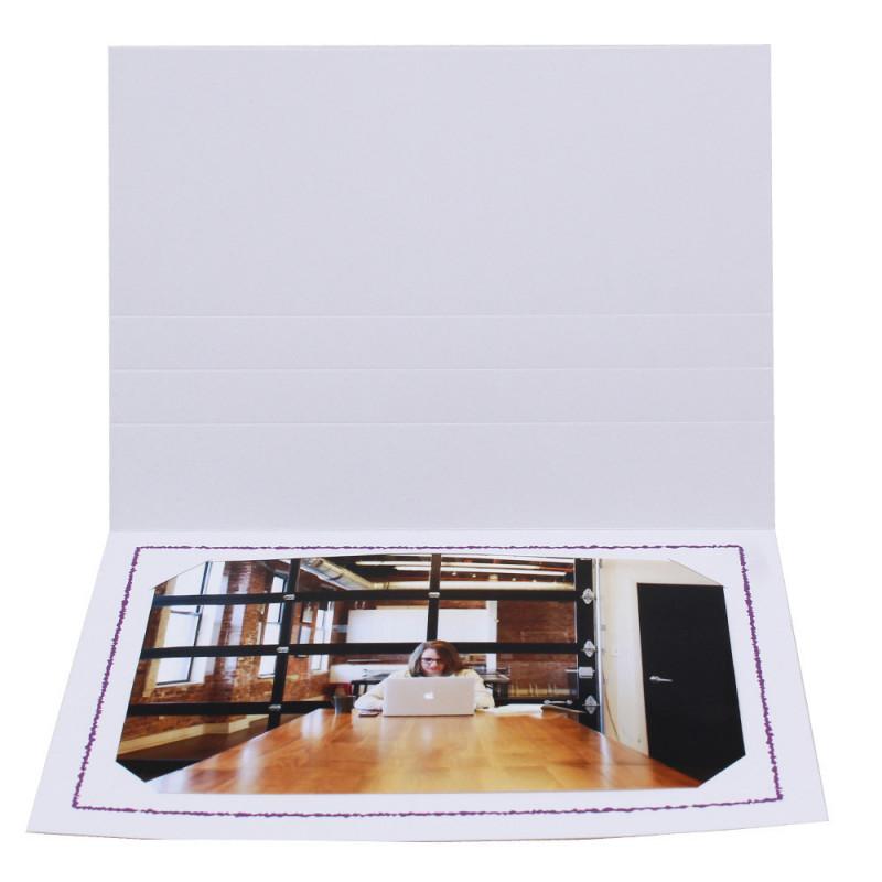 Cartonnage photo Thionville 10x15-9x13 blanc-horizontal-liseré violet