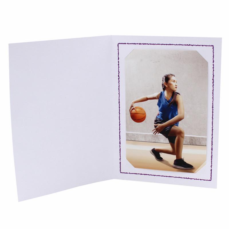 Cartonnage photo Thionville 10x15-9x13 blanc-vertical-liseré violet