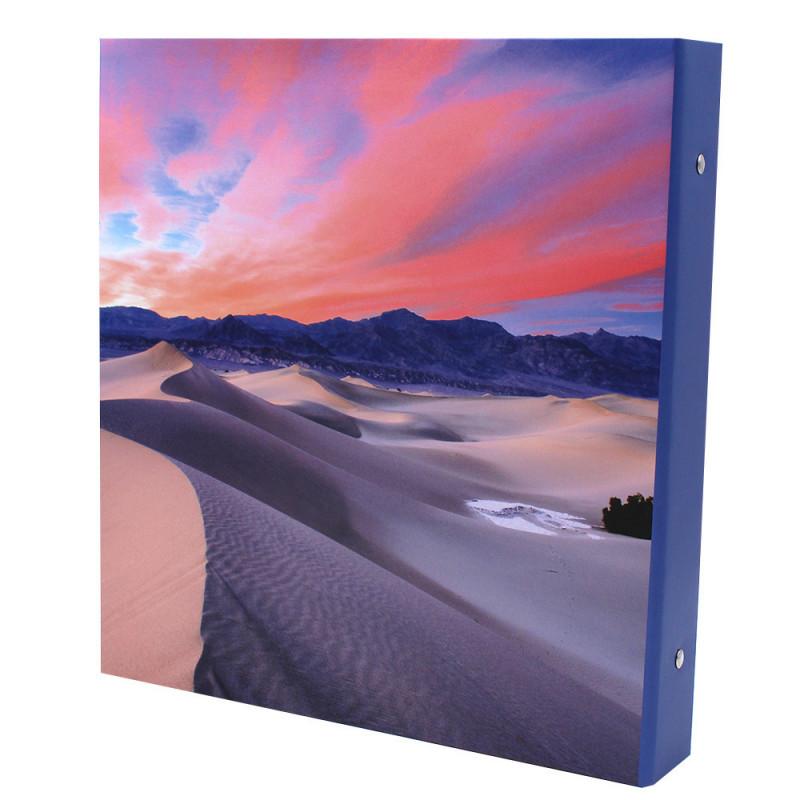 Lot de 2 classeurs photo à pochettes Bout du Monde pour 400 photos 11x15-dos modele tranche bleue