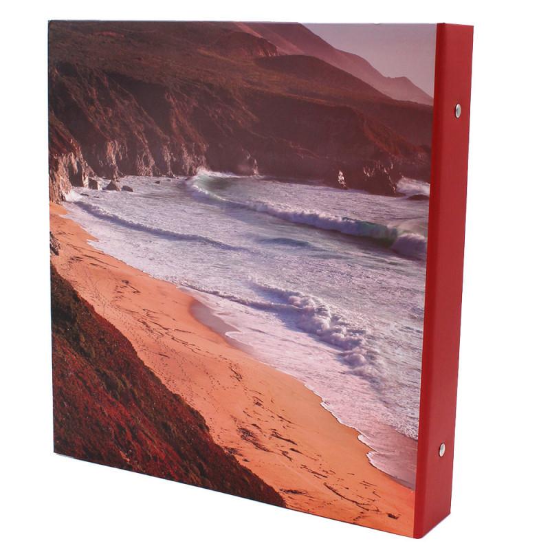 Lot de 2 classeurs photo à pochettes Bout du Monde pour 400 photos 11x15-dos modele tranche rouge