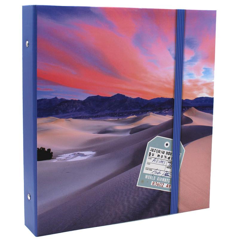 Lot de 2 classeurs photo à pochettes Bout du Monde pour 400 photos 11x15-face modele tranche bleue