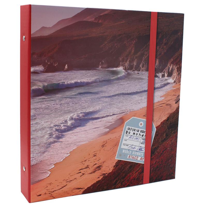 Lot de 2 classeurs photo à pochettes Bout du Monde pour 400 photos 11x15-face modele tranche rouge