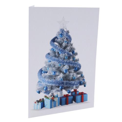 cartonnage photo de noel - sapin bleu