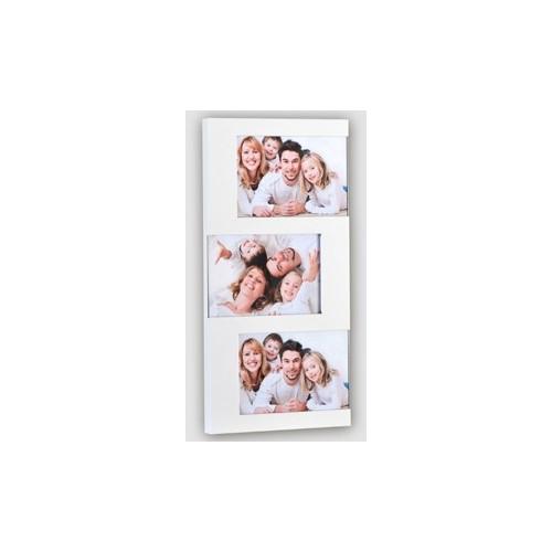 Pêle- mêle photo 3 vues blanc métal 10x15