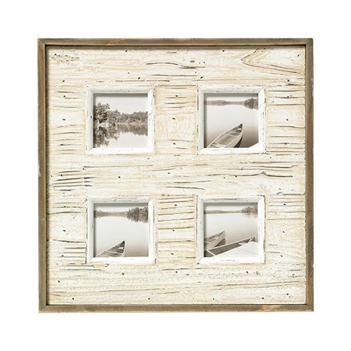 Cadre multivues aspect bois vieilli pour 4 photos - Beige