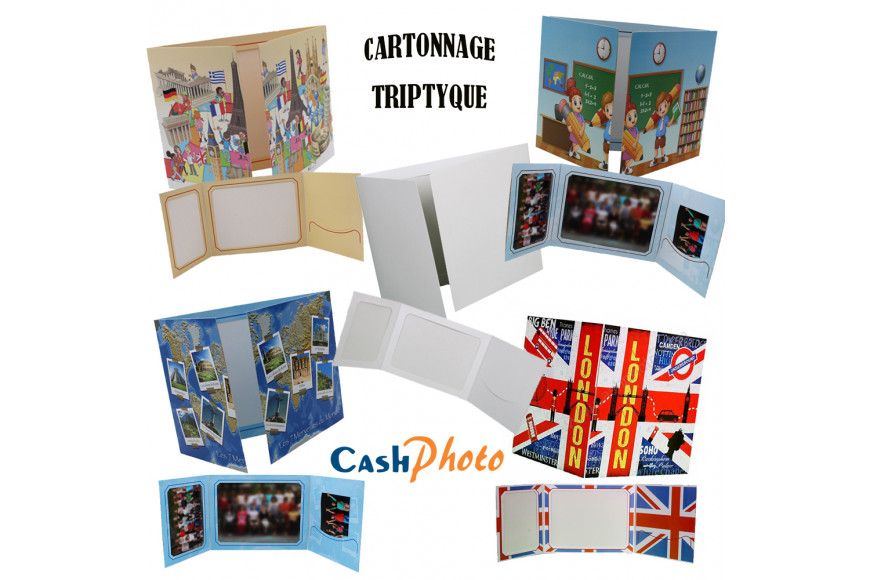 Cartonnage photo triptyque
